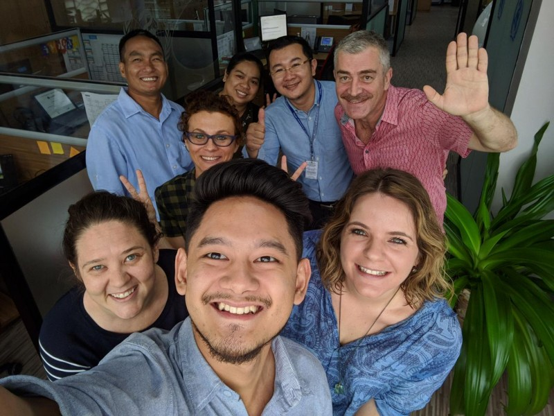 Stephanie Wheeler with colleagues in Cambodia