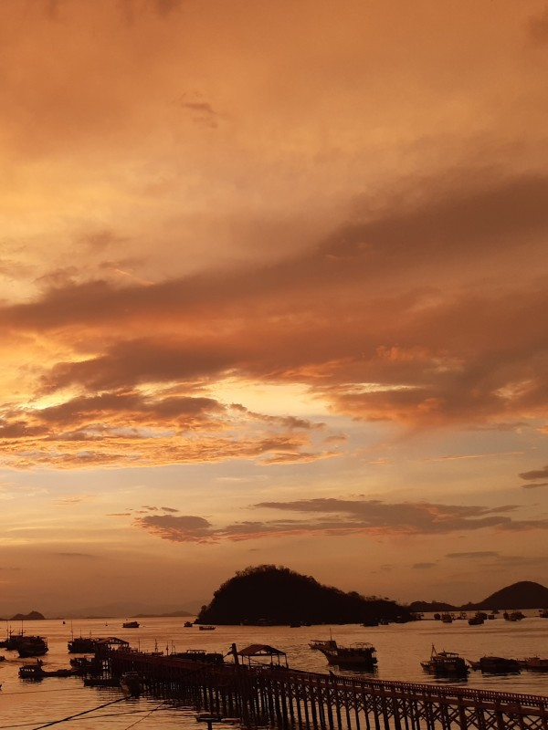 Sunset in Labuan Bajo Port of departure for Komodo National Park