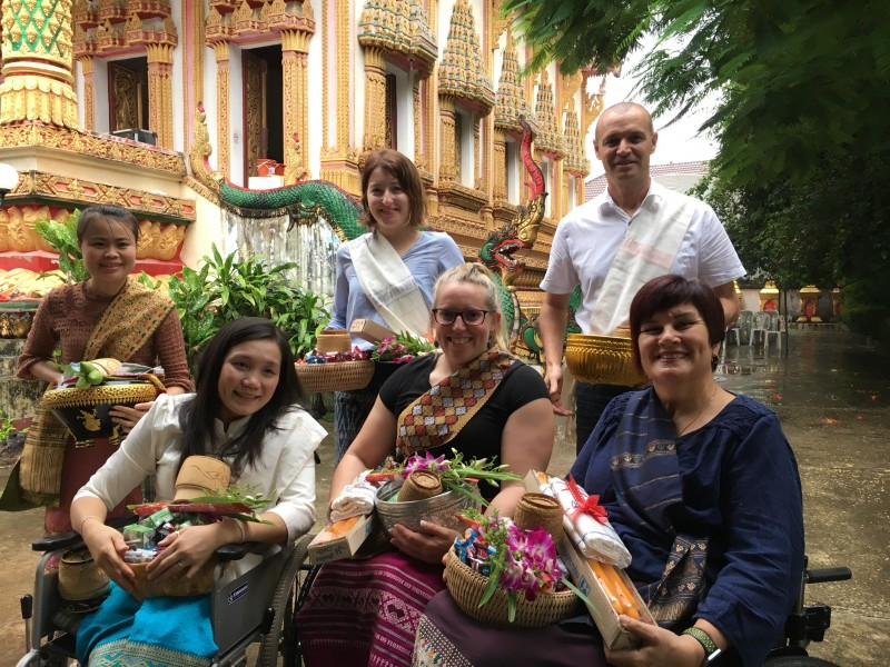 At the Buddhist templte for Buddhist Lent celebrations with Souphaluck Boutthady Metta Thippawong Nikki Harte Shelley Chaplin and Zane DMello