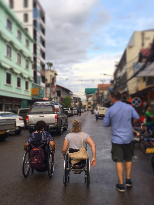 On the streets of Vientiane with Shelley Chaplin and ABCs Aaron Kearney