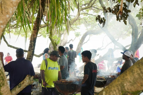 A big barbeque cook up in Majuro, Marshall Islands