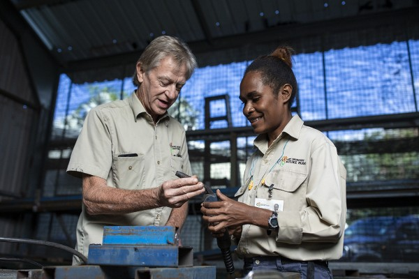Australian volunteer Maintenance Manager Robert with colleague Kathlyn at the Port Moresby Nature Park. Photo credit Harjono Djoyobisono