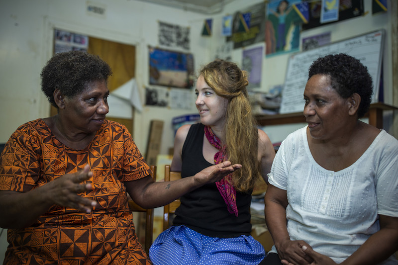 Australian volunteer Rachel Bartly with colleagues at VBMS in Honiara Solomon Islands