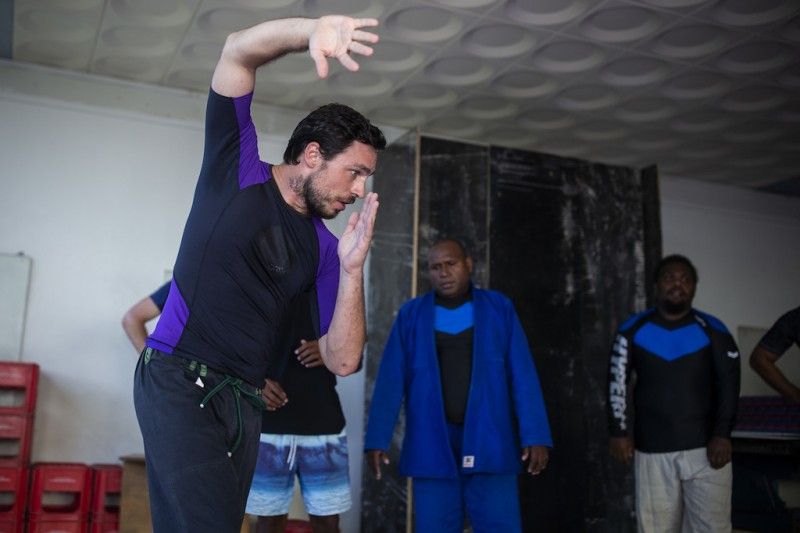 Jake Marusich teaching martial arts in Honiara Solomon Islands.