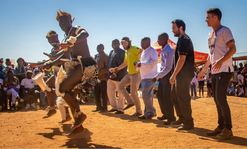 Australian volunteers join in a traditional dance at Mapalane Primary School South Africa 2018
