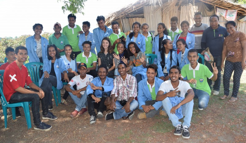 Australian volunteer Sophie Rayner with host organisaiton colleagues and university students in Timor Leste