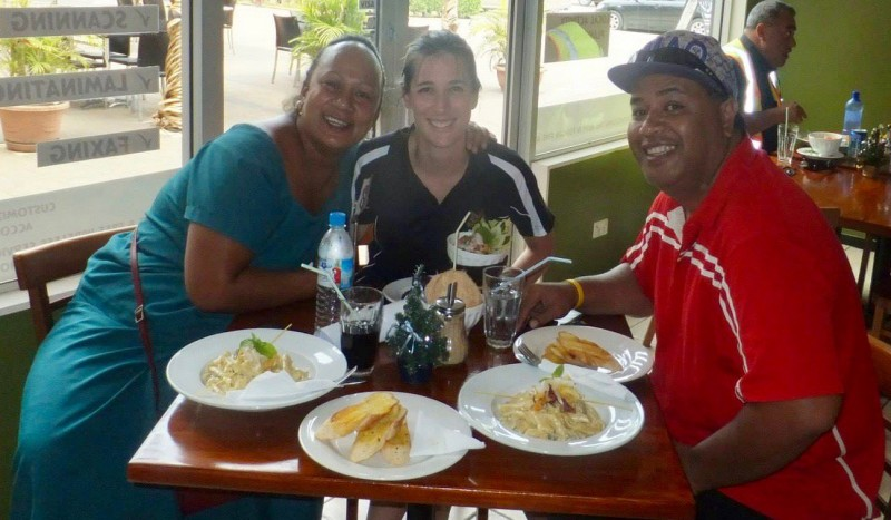 Madeleine with her counterparts Anchiemona Kaufusi and Petuliki Mila in a cafe in Tonga