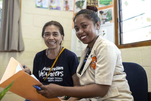 Annamarie volunteers at HIAM Health as a Communications Mentor in Timor Leste. Shes pictured here with HIAMs Communication Officer Celelina